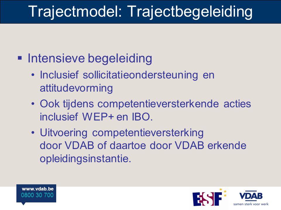 www.vdab.be 0800 30 700  Intensieve begeleiding Inclusief sollicitatieondersteuning en attitudevorming Ook tijdens competentieversterkende acties inclusief WEP+ en IBO.