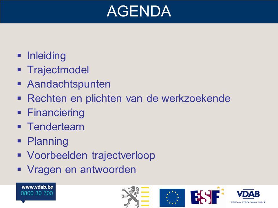 www.vdab.be 0800 30 700  Inleiding  Trajectmodel  Aandachtspunten  Rechten en plichten van de werkzoekende  Financiering  Tenderteam  Planning  Voorbeelden trajectverloop  Vragen en antwoorden AGENDA