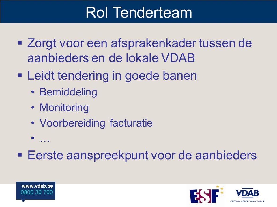 www.vdab.be 0800 30 700 Rol Tenderteam  Zorgt voor een afsprakenkader tussen de aanbieders en de lokale VDAB  Leidt tendering in goede banen Bemidde