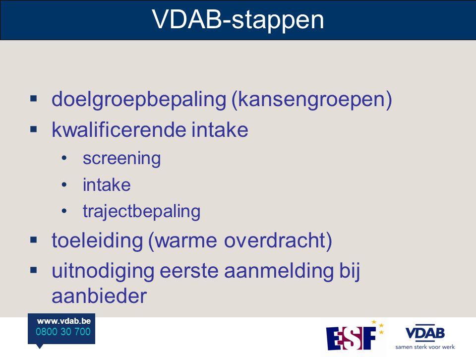 www.vdab.be 0800 30 700  doelgroepbepaling (kansengroepen)  kwalificerende intake screening intake trajectbepaling  toeleiding (warme overdracht)  uitnodiging eerste aanmelding bij aanbieder VDAB-stappen