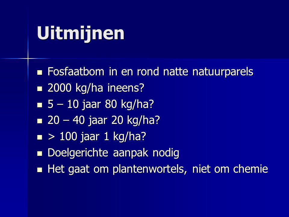 Uitmijnen Fosfaatbom in en rond natte natuurparels Fosfaatbom in en rond natte natuurparels 2000 kg/ha ineens? 2000 kg/ha ineens? 5 – 10 jaar 80 kg/ha