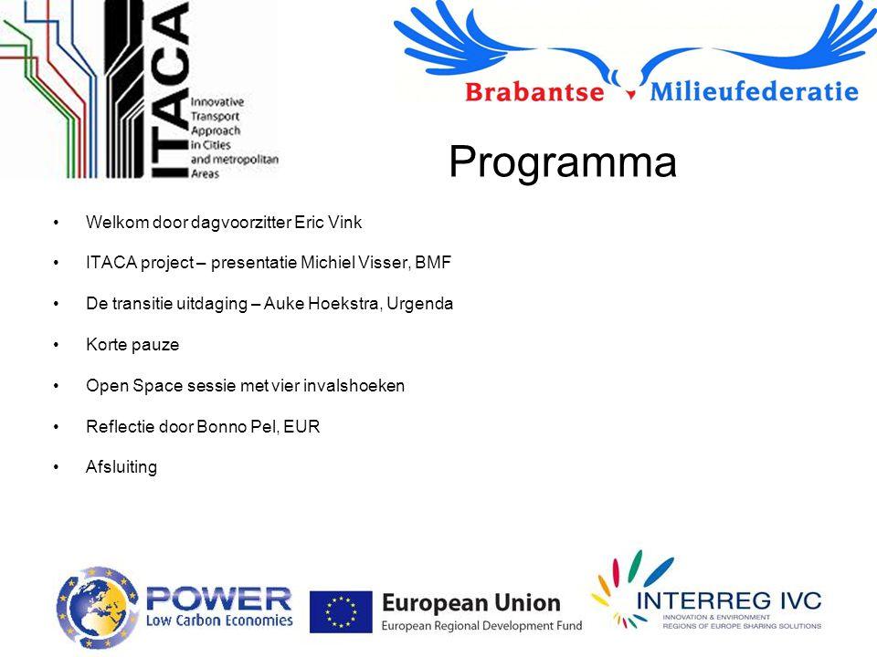 Programma Welkom door dagvoorzitter Eric Vink ITACA project – presentatie Michiel Visser, BMF De transitie uitdaging – Auke Hoekstra, Urgenda Korte pa