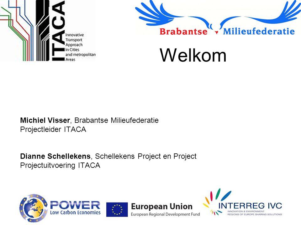 Welkom Michiel Visser, Brabantse Milieufederatie Projectleider ITACA Dianne Schellekens, Schellekens Project en Project Projectuitvoering ITACA