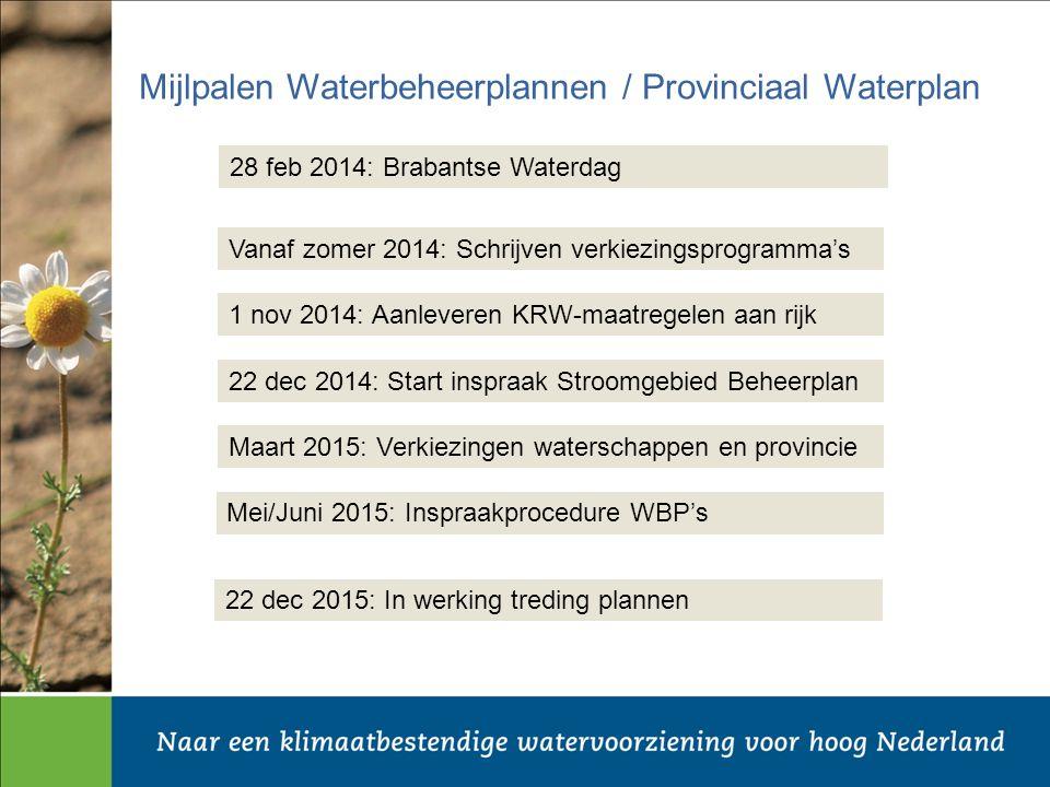 Mijlpalen Waterbeheerplannen / Provinciaal Waterplan 1 nov 2014: Aanleveren KRW-maatregelen aan rijk 22 dec 2014: Start inspraak Stroomgebied Beheerplan Mei/Juni 2015: Inspraakprocedure WBP's 22 dec 2015: In werking treding plannen Maart 2015: Verkiezingen waterschappen en provincie 28 feb 2014: Brabantse Waterdag Vanaf zomer 2014: Schrijven verkiezingsprogramma's
