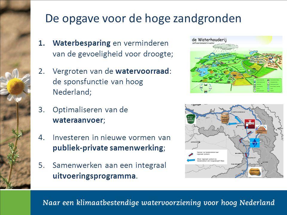 De opgave voor de hoge zandgronden 1.Waterbesparing en verminderen van de gevoeligheid voor droogte; 2.Vergroten van de watervoorraad: de sponsfunctie van hoog Nederland; 3.Optimaliseren van de wateraanvoer; 4.Investeren in nieuwe vormen van publiek-private samenwerking; 5.Samenwerken aan een integraal uitvoeringsprogramma.