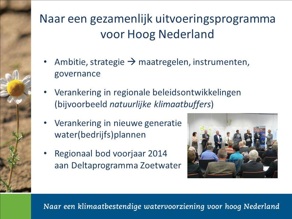Naar een gezamenlijk uitvoeringsprogramma voor Hoog Nederland Ambitie, strategie  maatregelen, instrumenten, governance Verankering in regionale beleidsontwikkelingen (bijvoorbeeld natuurlijke klimaatbuffers) Verankering in nieuwe generatie water(bedrijfs)plannen Regionaal bod voorjaar 2014 aan Deltaprogramma Zoetwater