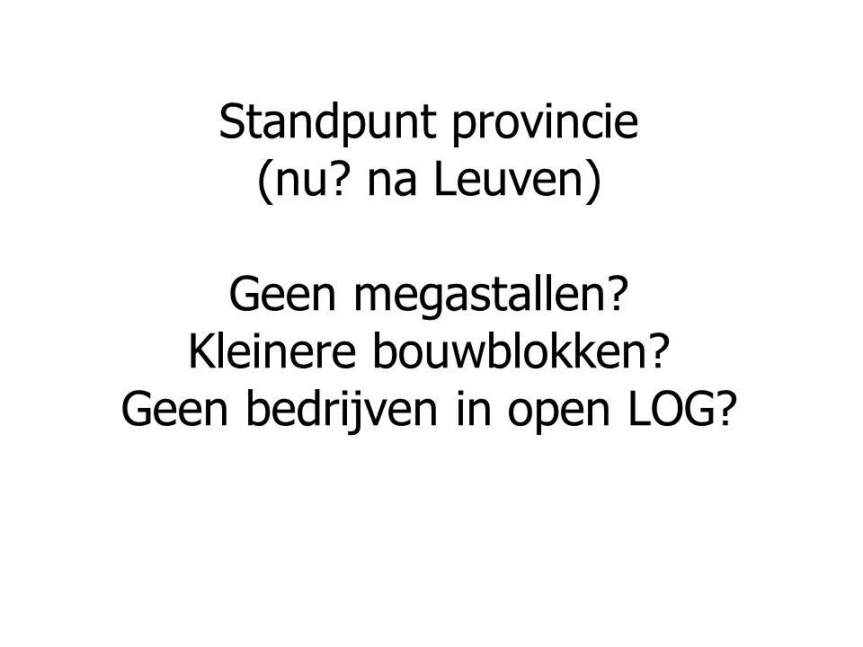Standpunt provincie (nu? na Leuven) Geen megastallen? Kleinere bouwblokken? Geen bedrijven in open LOG?