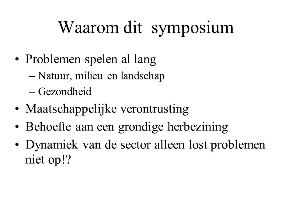 Waarom dit symposium Problemen spelen al lang –Natuur, milieu en landschap –Gezondheid Maatschappelijke verontrusting Behoefte aan een grondige herbezining Dynamiek van de sector alleen lost problemen niet op!?