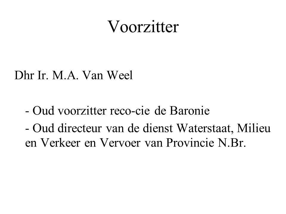 Voorzitter Dhr Ir. M.A. Van Weel - Oud voorzitter reco-cie de Baronie - Oud directeur van de dienst Waterstaat, Milieu en Verkeer en Vervoer van Provi