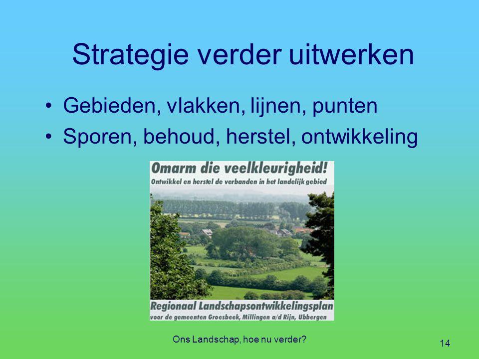 Strategie verder uitwerken Gebieden, vlakken, lijnen, punten Sporen, behoud, herstel, ontwikkeling Ons Landschap, hoe nu verder.
