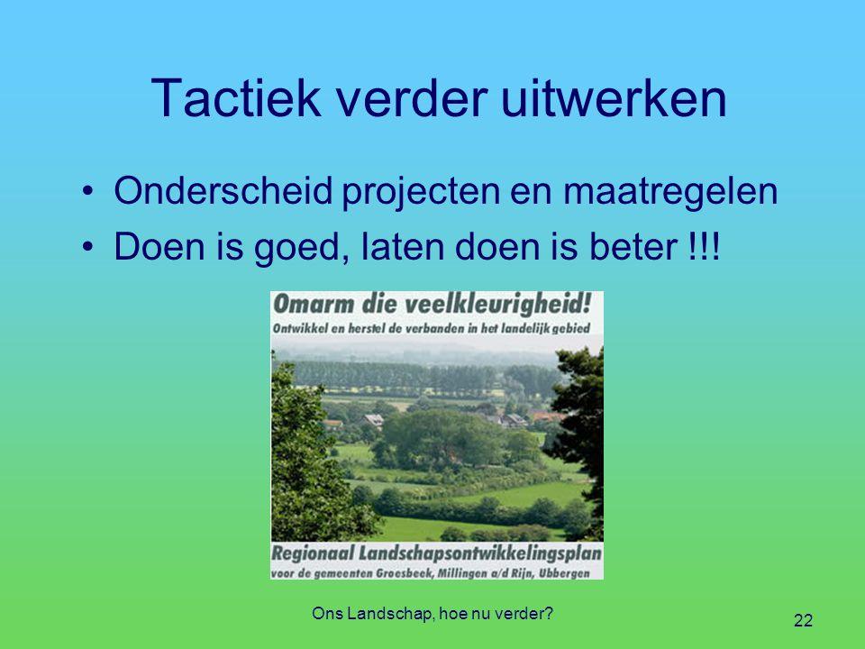 Tactiek verder uitwerken Onderscheid projecten en maatregelen Doen is goed, laten doen is beter !!.