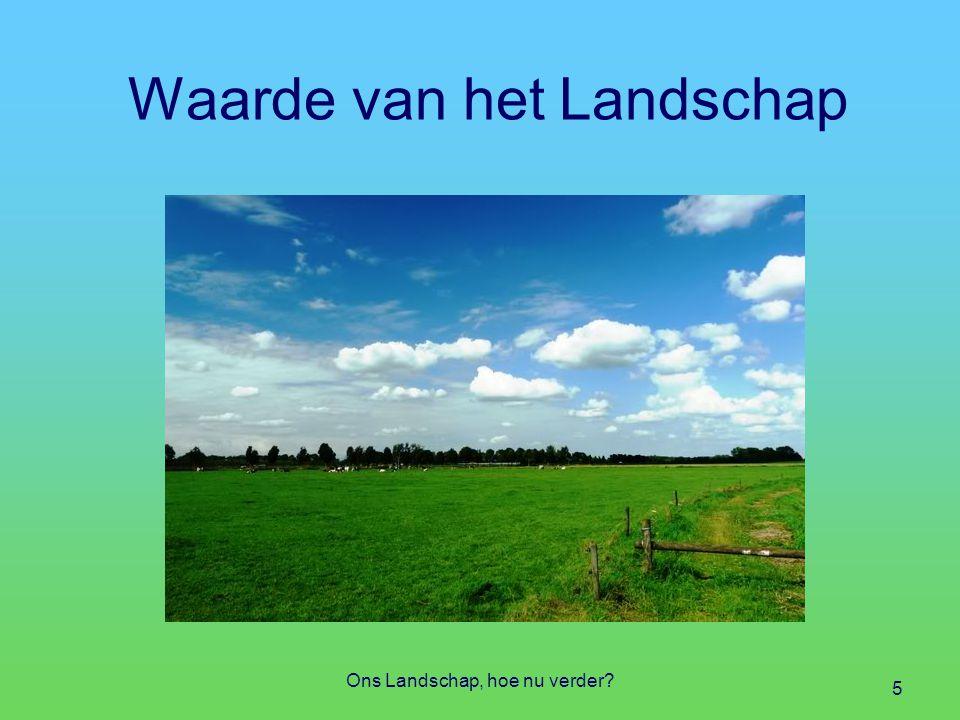 Uitvoering Landschap Vragen op operationeel niveau Hoe zit het met het grondeigendom Hoe zit het met de bestemming Hoe zit het met de inrichting (aanleg) Hoe zit het met het beheer en onderhoud Hoe zit het met het gebruik en de beleving Ons Landschap, hoe nu verder.