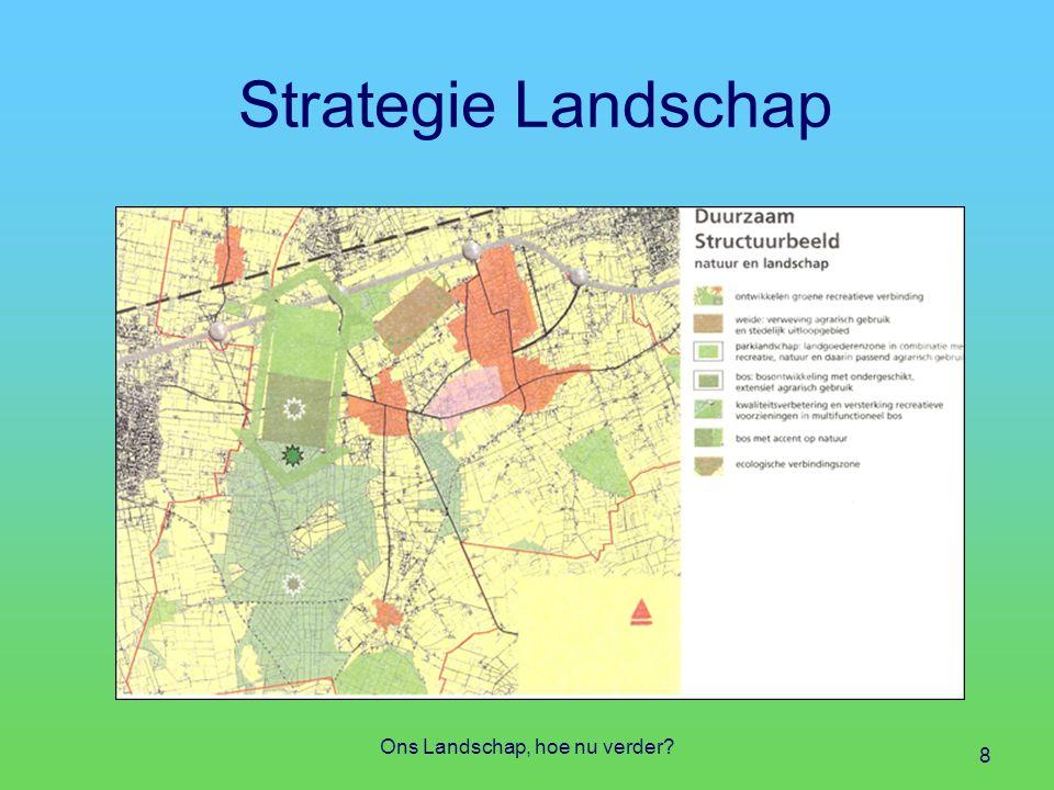 Strategie Landschap Vragen op strategisch niveau Welke structuren (aardkundig, land- schappelijk, cultuurhistorisch, ecologisch) Welke waarden en kwaliteiten Welke hoofdfuncties en nevenfuncties Welke beleidsmatige stempels Ons Landschap, hoe nu verder.