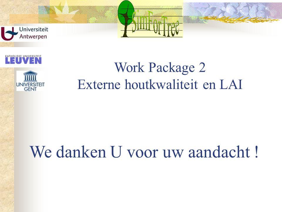 Work Package 2 Externe houtkwaliteit en LAI We danken U voor uw aandacht !