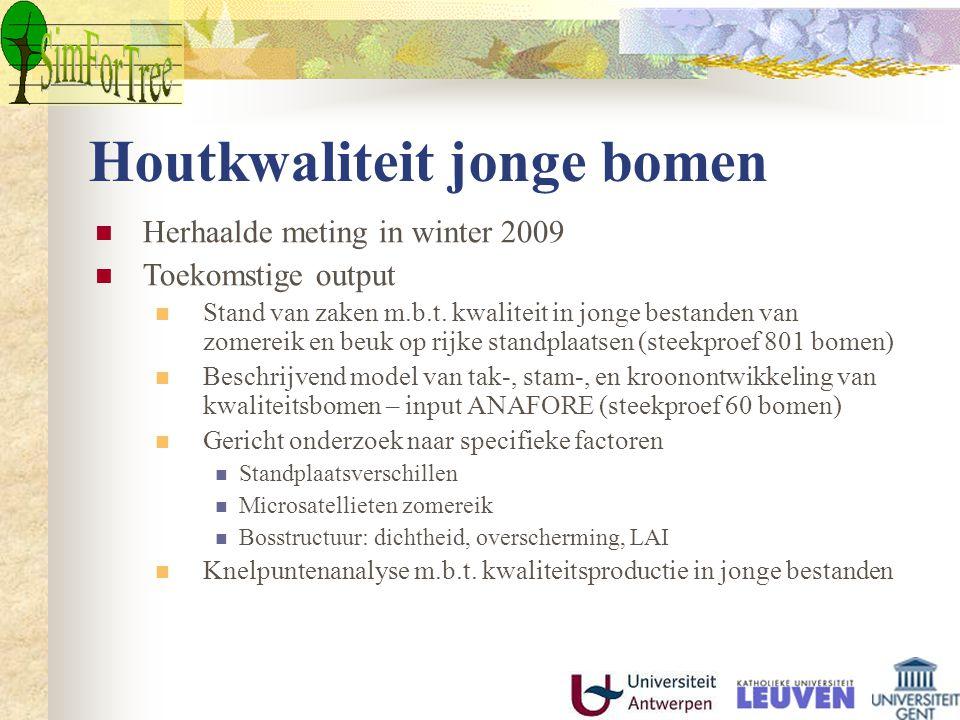 Houtkwaliteit jonge bomen Herhaalde meting in winter 2009 Toekomstige output Stand van zaken m.b.t. kwaliteit in jonge bestanden van zomereik en beuk