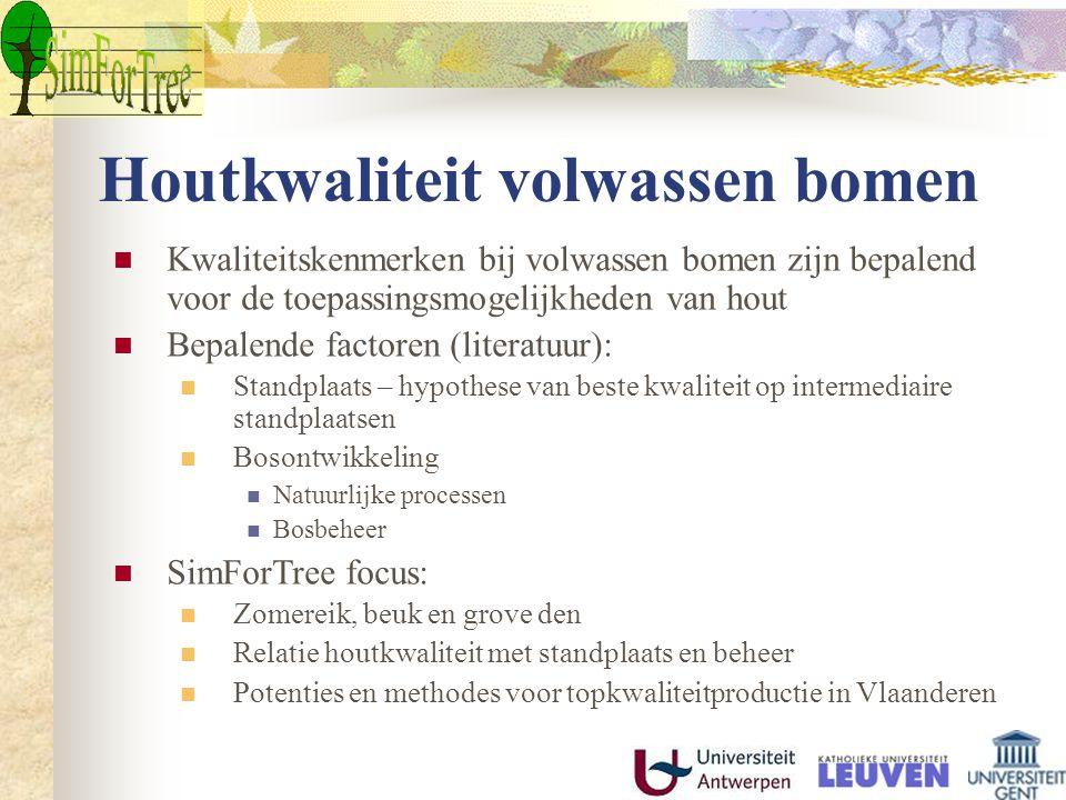 Houtkwaliteit volwassen bomen Kwaliteitskenmerken bij volwassen bomen zijn bepalend voor de toepassingsmogelijkheden van hout Bepalende factoren (literatuur): Standplaats – hypothese van beste kwaliteit op intermediaire standplaatsen Bosontwikkeling Natuurlijke processen Bosbeheer SimForTree focus: Zomereik, beuk en grove den Relatie houtkwaliteit met standplaats en beheer Potenties en methodes voor topkwaliteitproductie in Vlaanderen