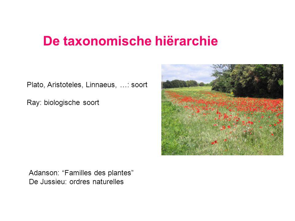 "De taxonomische hiërarchie Plato, Aristoteles, Linnaeus, …: soort Ray: biologische soort Adanson: ""Familles des plantes"" De Jussieu: ordres naturelles"
