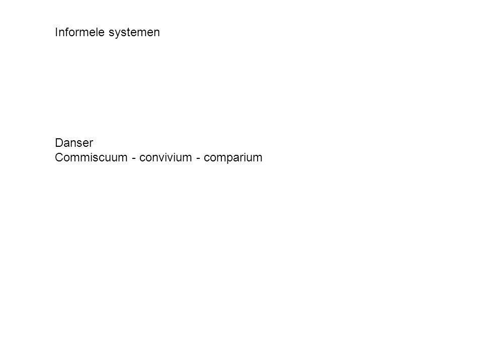 Informele systemen Danser Commiscuum - convivium - comparium