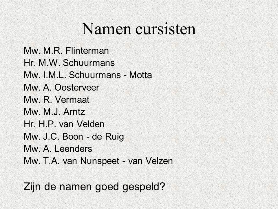 Namen cursisten Mw.M.R. Flinterman Hr. M.W. Schuurmans Mw.