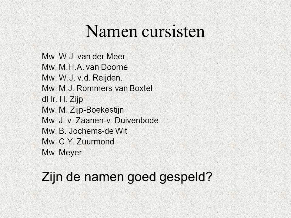 Namen cursisten Mw. W.J. van der Meer Mw. M.H.A. van Doorne Mw. W.J. v.d. Reijden. Mw. M.J. Rommers-van Boxtel dHr. H. Zijp Mw. M. Zijp-Boekestijn Mw.