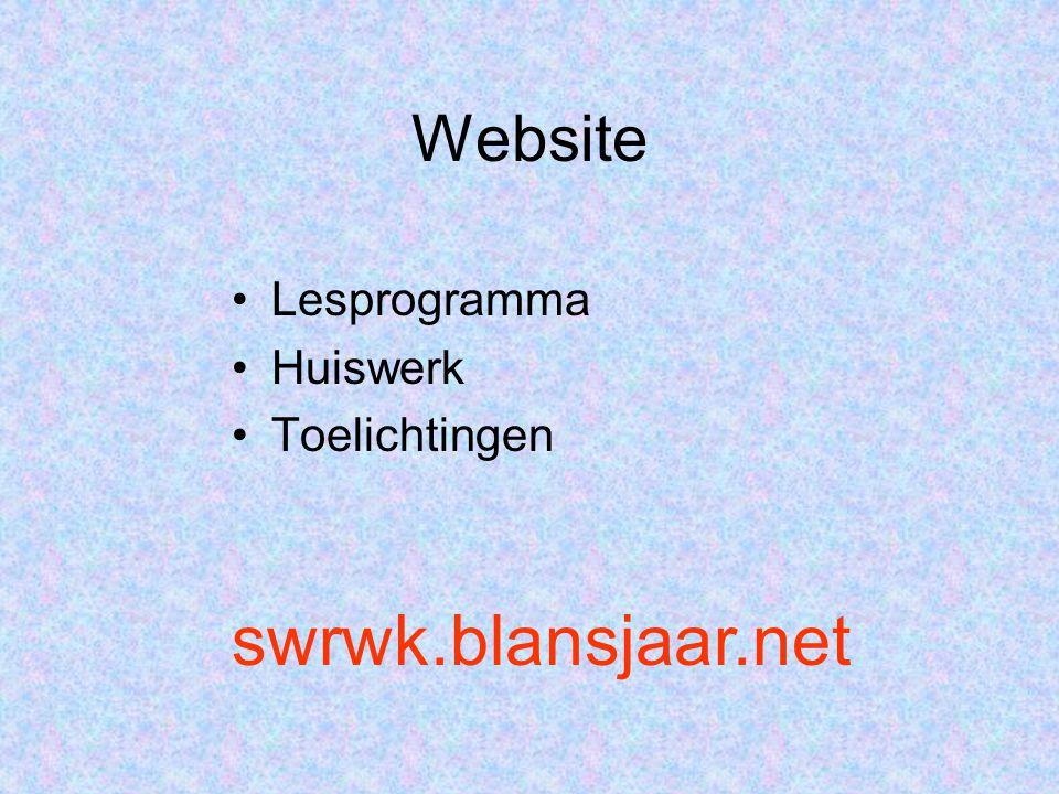 Website Lesprogramma Huiswerk Toelichtingen swrwk.blansjaar.net