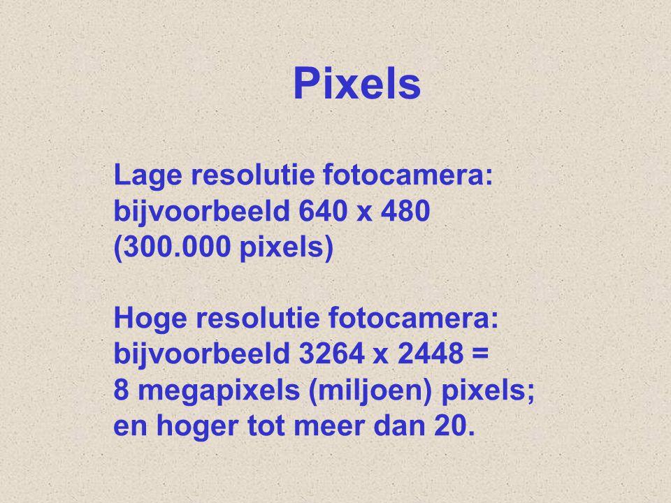 Lage resolutie fotocamera: bijvoorbeeld 640 x 480 (300.000 pixels) Hoge resolutie fotocamera: bijvoorbeeld 3264 x 2448 = 8 megapixels (miljoen) pixels