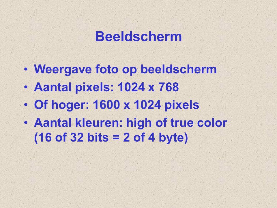 Beeldscherm Weergave foto op beeldscherm Aantal pixels: 1024 x 768 Of hoger: 1600 x 1024 pixels Aantal kleuren: high of true color (16 of 32 bits = 2