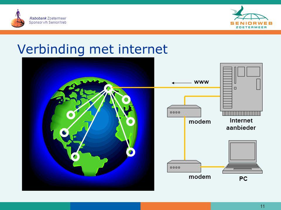 Rabobank Zoetermeer Sponsor v/h SeniorWeb Verbinding met internet 11 modem www Internet aanbieder PC