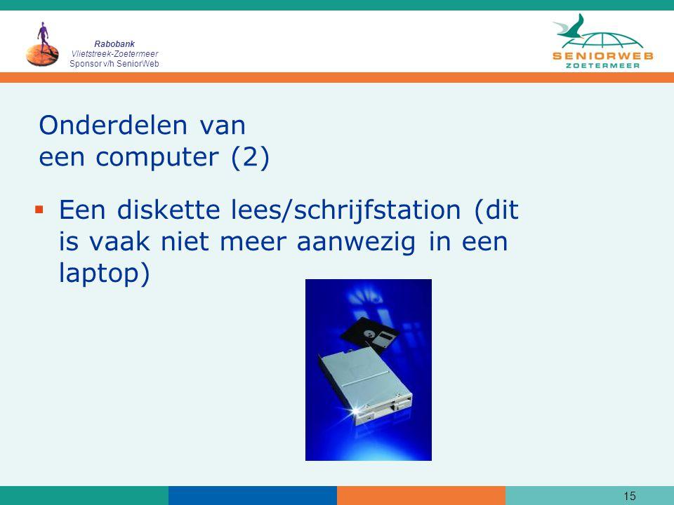 Rabobank Vlietstreek-Zoetermeer Sponsor v/h SeniorWeb 15 Onderdelen van een computer (2)  Een diskette lees/schrijfstation (dit is vaak niet meer aanwezig in een laptop)