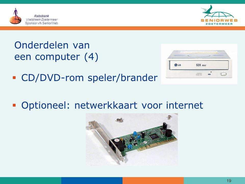 Rabobank Vlietstreek-Zoetermeer Sponsor v/h SeniorWeb 19 Onderdelen van een computer (4)  CD/DVD-rom speler/brander  Optioneel: netwerkkaart voor internet