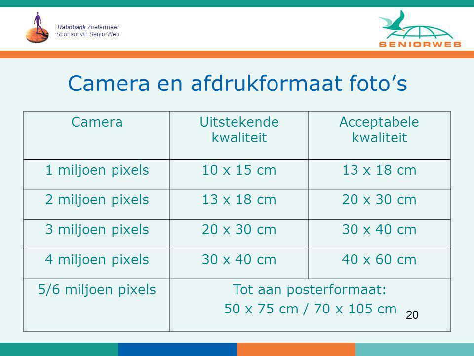 Rabobank Zoetermeer Sponsor v/h SeniorWeb 20 Camera en afdrukformaat foto's CameraUitstekende kwaliteit Acceptabele kwaliteit 1 miljoen pixels10 x 15