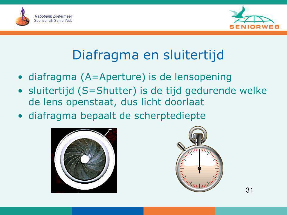 Rabobank Zoetermeer Sponsor v/h SeniorWeb 31 Diafragma en sluitertijd diafragma (A=Aperture) is de lensopening sluitertijd (S=Shutter) is de tijd gedu
