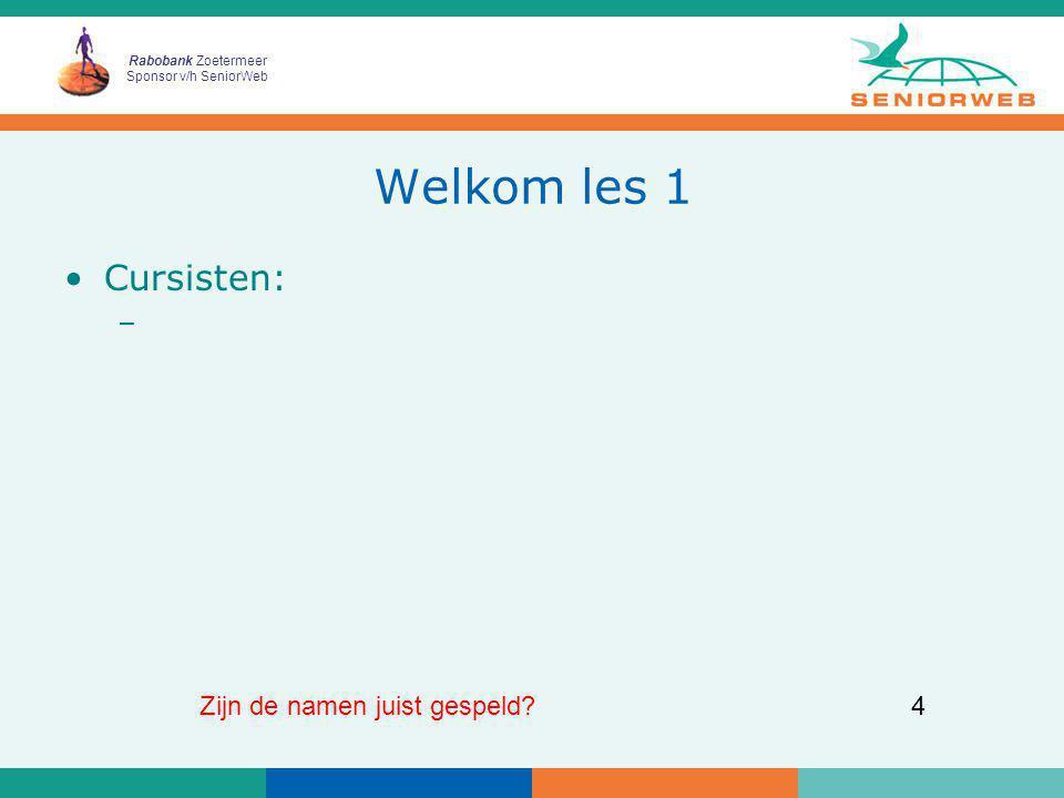 Rabobank Zoetermeer Sponsor v/h SeniorWeb 25 Koffiepauze