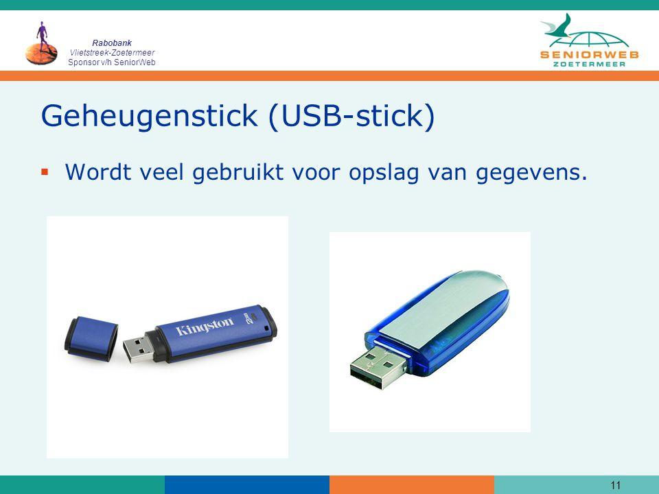 Rabobank Vlietstreek-Zoetermeer Sponsor v/h SeniorWeb Geheugenstick (USB-stick)  Wordt veel gebruikt voor opslag van gegevens. 11