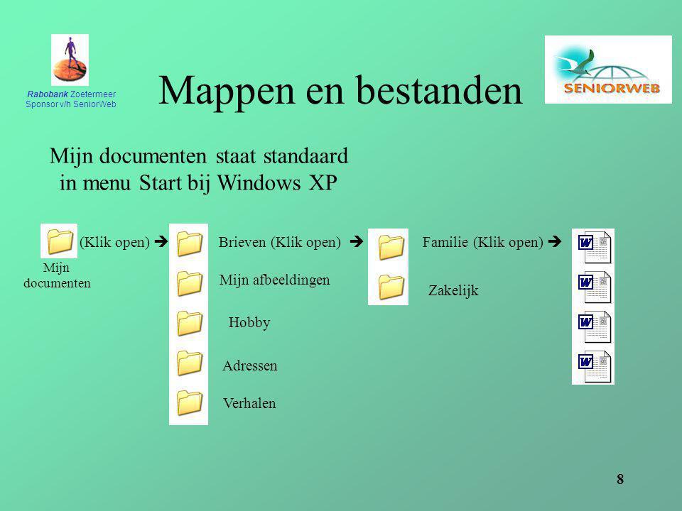 Rabobank Zoetermeer Sponsor v/h SeniorWeb 8 Mappen en bestanden Mijn documenten staat standaard in menu Start bij Windows XP Mijn documenten (Klik open)  Brieven (Klik open)  Familie (Klik open)  Zakelijk Mijn afbeeldingen Hobby Adressen Verhalen