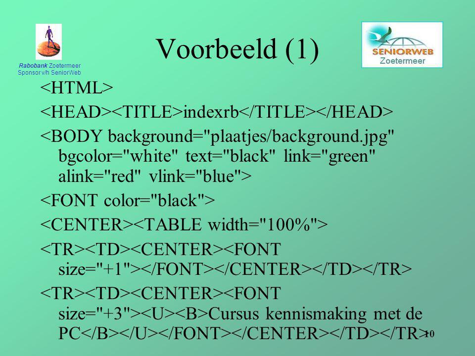 Rabobank Zoetermeer Sponsor v/h SeniorWeb 10 Voorbeeld (1) indexrb Cursus kennismaking met de PC