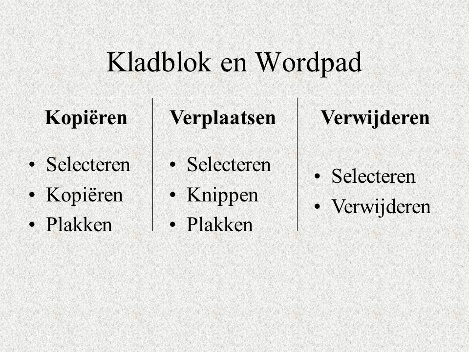 Kladblok en Wordpad Selecteren Kopiëren Plakken Selecteren Verwijderen Selecteren Knippen Plakken KopiërenVerwijderenVerplaatsen
