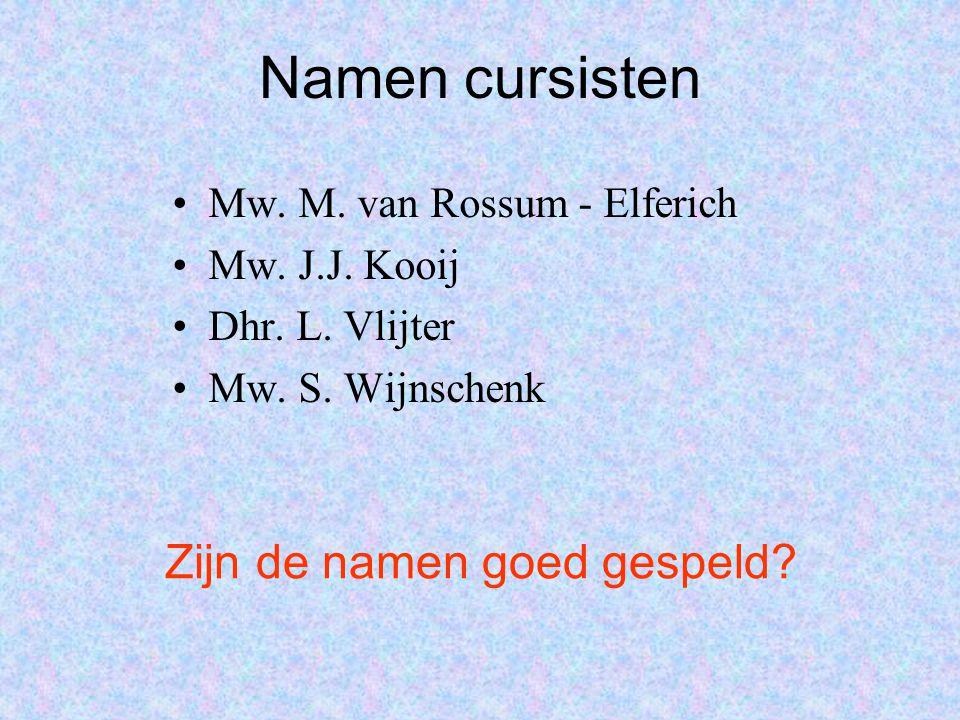 Namen cursisten Mw. M. van Rossum - Elferich Mw. J.J. Kooij Dhr. L. Vlijter Mw. S. Wijnschenk Zijn de namen goed gespeld?