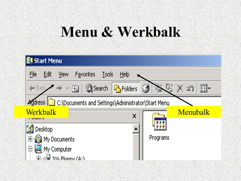 Menu & Werkbalk WerkbalkMenubalk