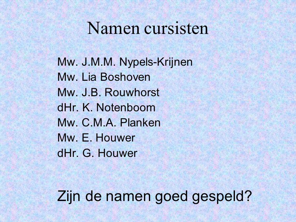 Namen cursisten Mw. J.M.M. Nypels-Krijnen Mw. Lia Boshoven Mw.
