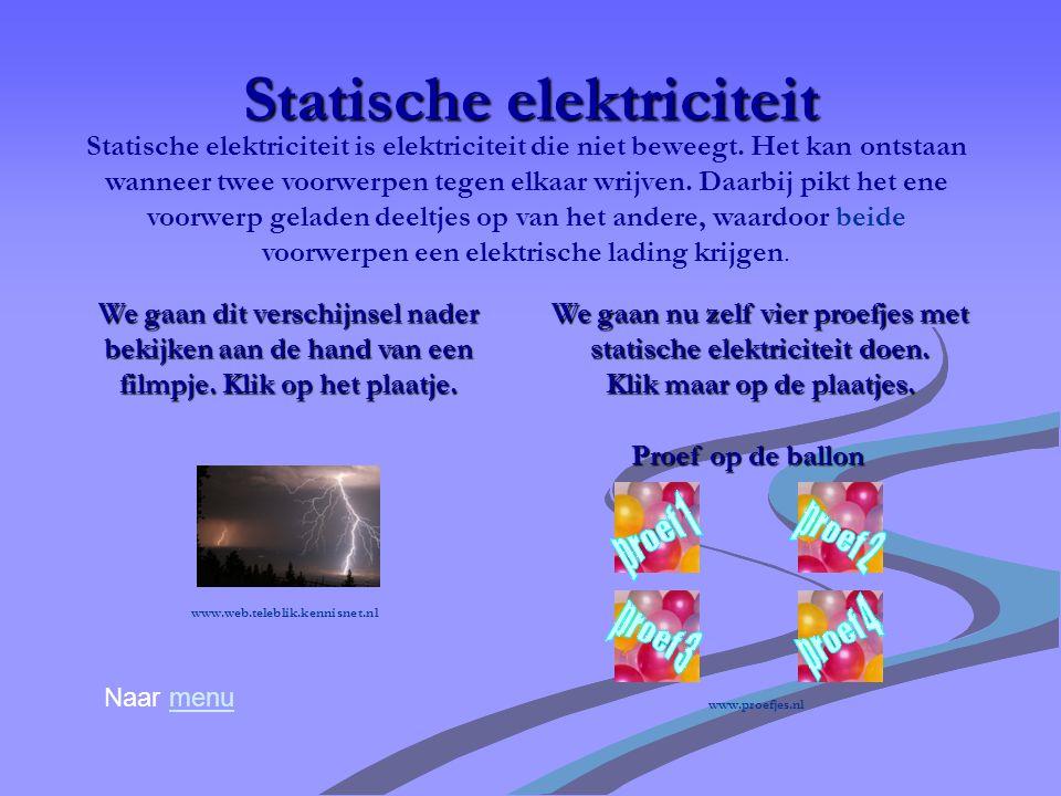 Elektrische stroom Naar menumenu Elektrische stroom is een beweging van geladen deeltjes, elektronen genoemd, door geleidend materiaal. Maak nu zelf e