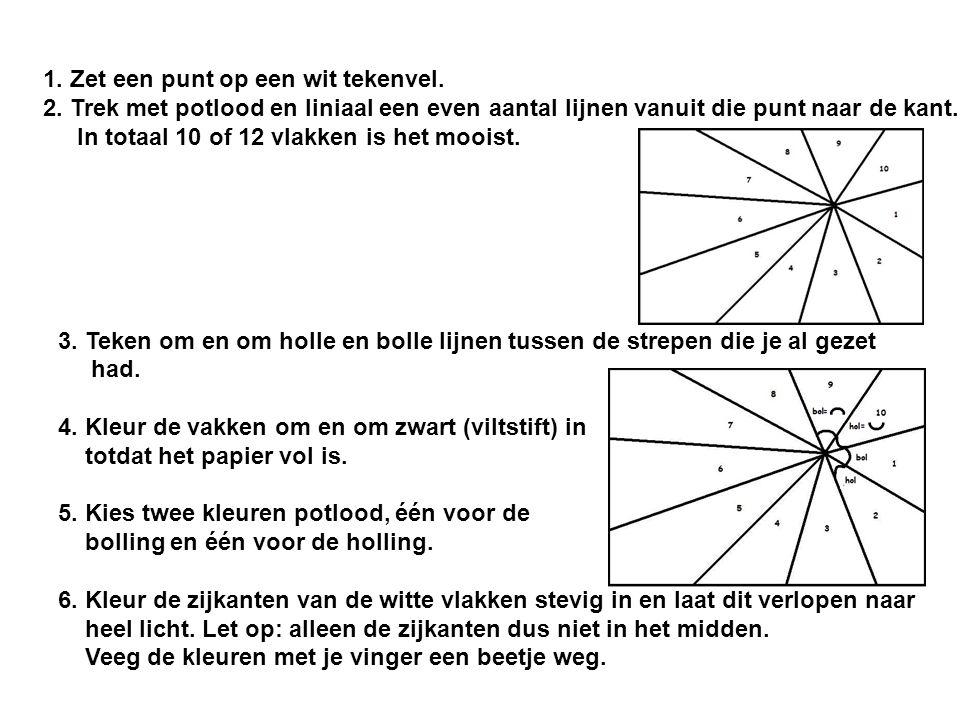 1. Zet een punt op een wit tekenvel. 2. Trek met potlood en liniaal een even aantal lijnen vanuit die punt naar de kant. In totaal 10 of 12 vlakken is