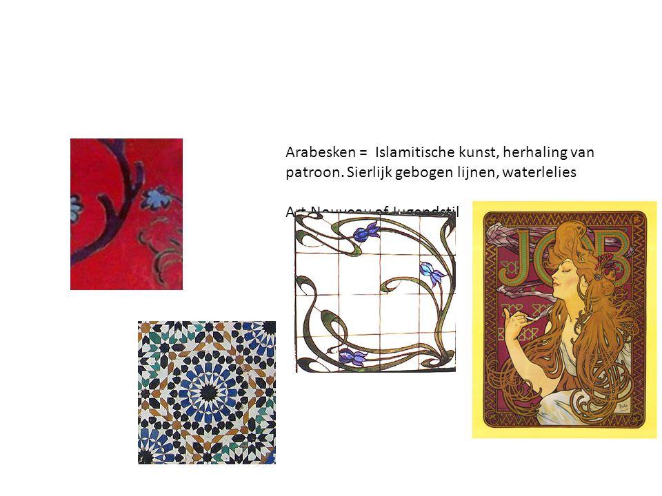 Arabesken = Islamitische kunst, herhaling van patroon. Sierlijk gebogen lijnen, waterlelies Art Nouveau of Jugendstil