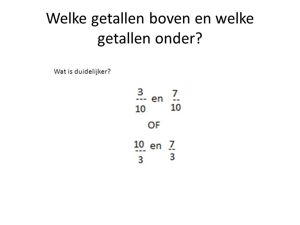Welke getallen boven en welke getallen onder? Wat is duidelijker?