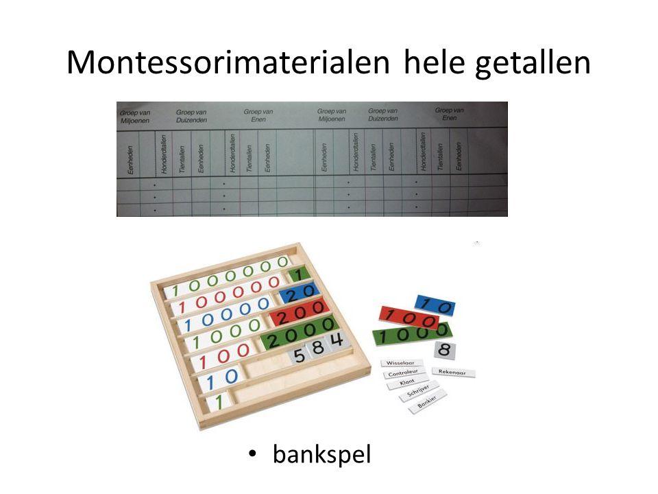 Montessorimaterialen hele getallen bankspel