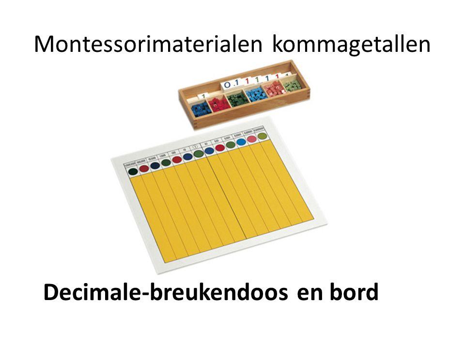 Montessorimaterialen kommagetallen Decimale-breukendoos en bord