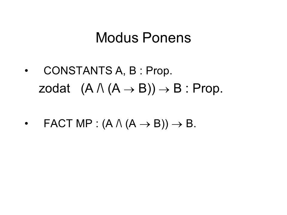 Modus Ponens CONSTANTS A, B : Prop. zodat (A /\ (A  B))  B : Prop. FACT MP : (A /\ (A  B))  B.