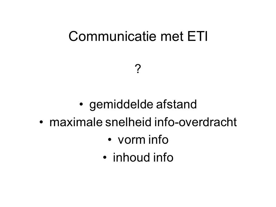 Communicatie met ETI gemiddelde afstand maximale snelheid info-overdracht vorm info inhoud info