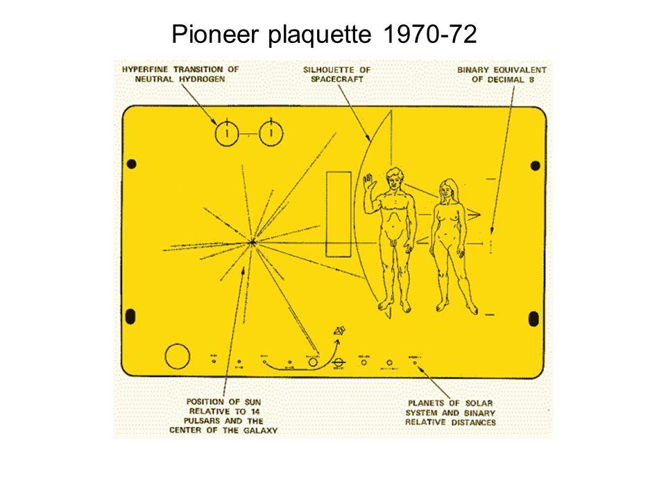 Pioneer plaquette 1970-72