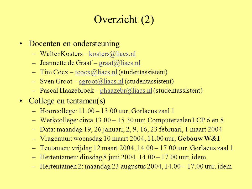 Overzicht (2) Docenten en ondersteuning –Walter Kosters – kosters@liacs.nlkosters@liacs.nl –Jeannette de Graaf – graaf@liacs.nlgraaf@liacs.nl –Tim Coc